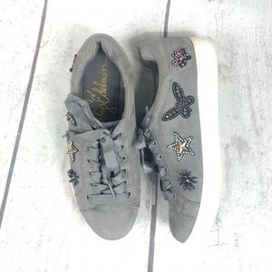 LIBBY EDELMAN Gray Suede embellished 81/2 sneakers